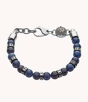 Diesel Men's Beaded African Blue Stone Bracelet