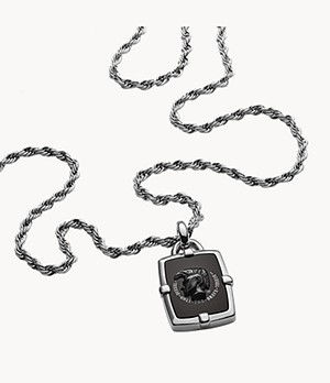 Diesel Men's Black Agate Necklace