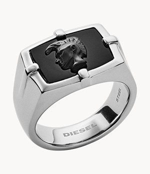 Diesel Men's Black Agate Ring