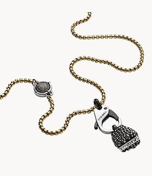 Diesel Men's Black Jet Hematite Necklace