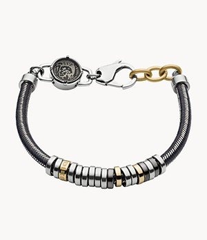 Diesel Men's Stackable Tri-Tone Stainless Steel Bracelet