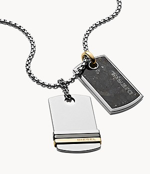 Diesel Men's Double Dog Tag Tri-Tone Stainless Steel Necklace