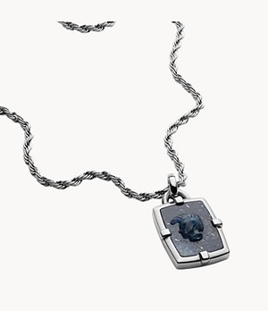 Diesel Men's African Blue Stone Pendant Necklace