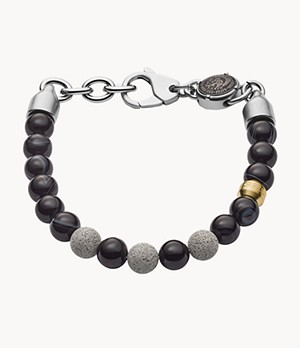 Diesel Beaded Two-Tone Semi-Precious and Concrete Bracelet