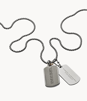 Diesel Engraved Stainless Steel and Concrete Double Dog Tag Necklace