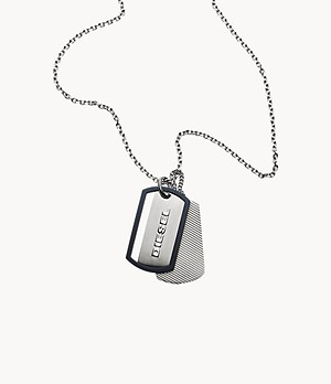 Diesel Engraved Stainless Steel Double Dog Tag Necklace