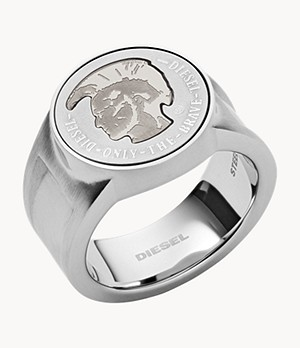 Diesel Mohican Head Stainless Steel Signet Ring