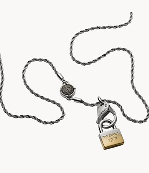 Diesel Lock Pendant Stainless Steel Necklace