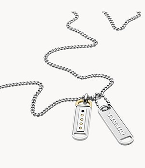 Diesel Stainless Steel Double Pendant Necklace