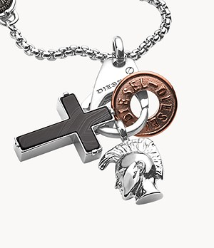 Diesel Stainless Steel Interchangeable Pendant Necklace