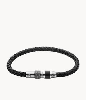 Diesel Black Braided Leather Bracelet