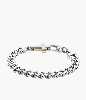 Diesel Stainless Steel Square-Chain Cross Bracelet