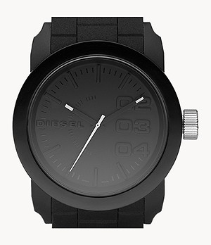 Diesel Double Down 44 Three-Hand Black Silicone Watch