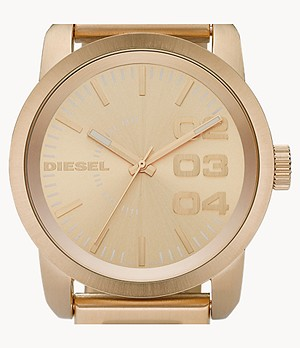 Diesel Men's Double Down 46 Three-Hand Gold-Tone Stainless Steel Watch