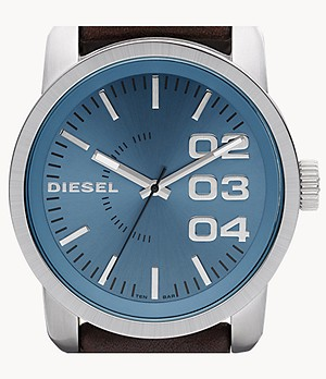 Diesel Men's Double Down 46 Three-Hand Brown Leather Watch
