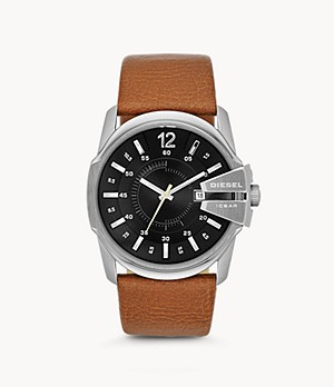 Diesel Master Chief Three-Hand Date Brown Leather Watch