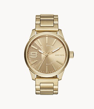 Diesel Men's Rasp Three-Hand Gold-Tone Steel Watch