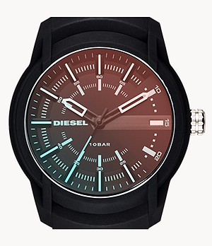 Diesel Men's Armbar Three-Hand Date Black Silicone Watch