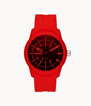 Diesel Men's Armbar Three-Hand Red Silicone Watch