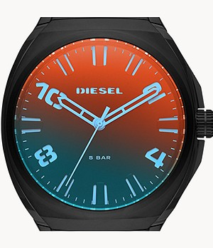 Diesel Men's Stigg Three-Hand Black Steel Watch