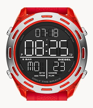 Diesel Crusher Digital Red Silicone Watch