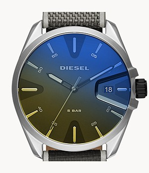 Diesel MS9 Three-Hand Date Black Nylon Watch