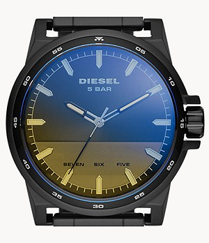 Diesel D-48 Three-Hand Black Stainless Steel Watch