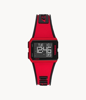 Diesel Chopped Digital Red Silicone Watch