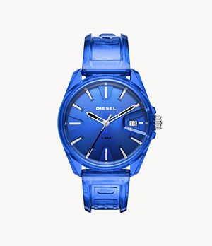 Diesel MS9 Three-Hand Blue Transparent Watch
