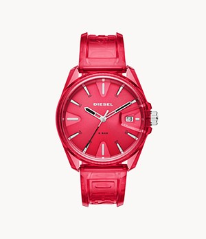 Diesel MS9 Three-Hand Red Transparent Watch