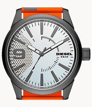Diesel Rasp Three-Hand Orange Nylon Watch