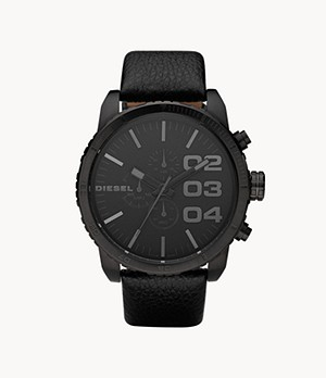 Diesel Men's Double Down 51 Chronograph Black Leather Watch