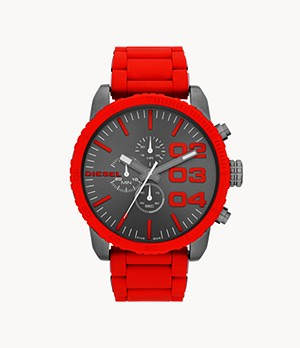 Diesel Men's Double Down 51 Chronograph Red Silicone Watch