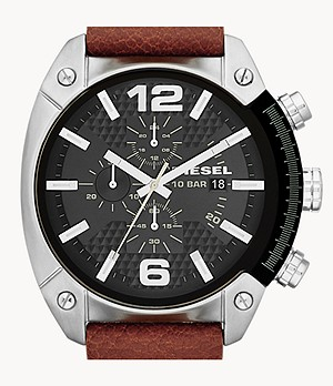 Diesel Men's Overflow Chronograph Brown Leather Watch