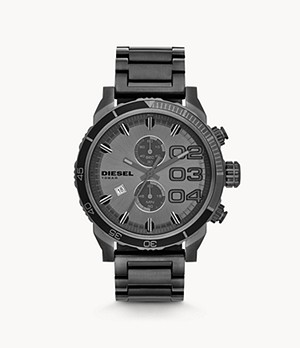 Diesel Men's Double Down 48 Chronograph Gunmetal Stainless Steel Watch