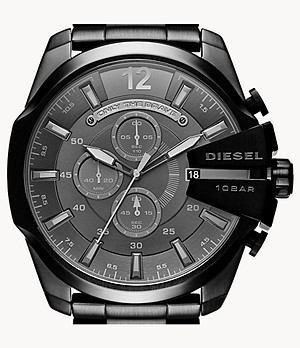 Diesel Men's Mega Chief Chronograph Black Stainless Steel Watch