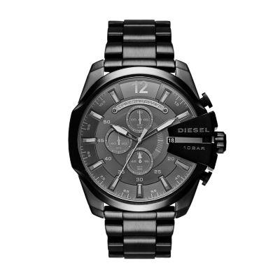 Diesel Men's Mega Chief Chronograph Black Stainless Steel Watch - DZ4355 - Watch Station