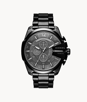 Diesel Men's Mega Chief Chronograph Black Steel Watch
