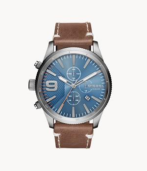 Diesel Men's Rasp Chronograph Brown Leather Watch