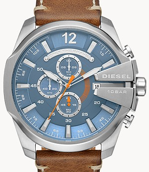 Diesel Men's Mega Chief Chronograph Brown Leather Watch