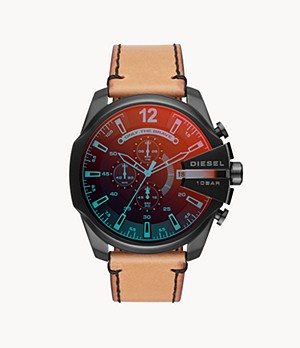 Diesel Men's Mega Chief Three-Hand Brown Leather Watch
