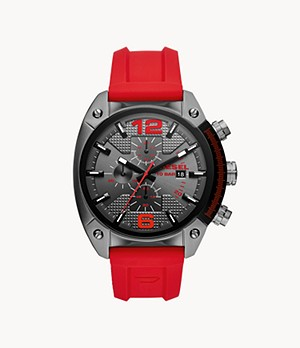 Diesel Men's Overflow Chronograph Gunmetal and Red Silicone Watch