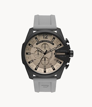 Diesel Men's Mega Chief Analog Gray Silicone Watch