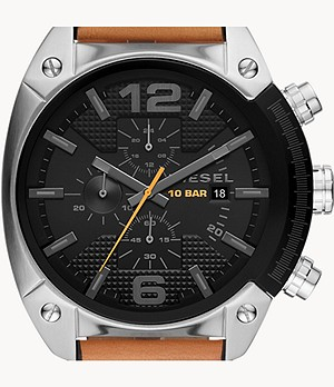 Diesel Men's Overflow Three-Hand Brown Leather Watch