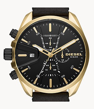 Diesel MS9 Chronograph Black Leather Watch