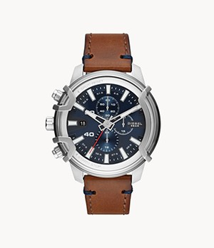 Diesel Griffed Chronograph Brown Leather Watch