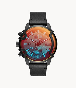 Diesel Griffed Chronograph Black Leather Watch