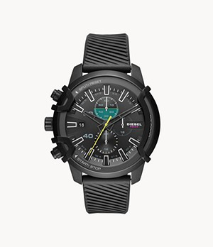 Diesel Griffed Chronograph Black Silicone Watch