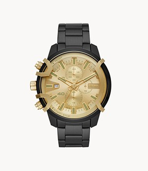 Diesel Griffed Chronograph Black Steel Watch