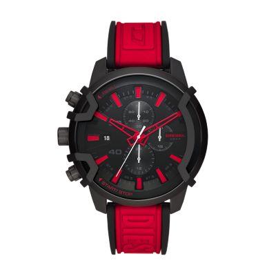 Diesel Griffed Chronograph Red Silicone Watch - DZ4530 - Watch Station